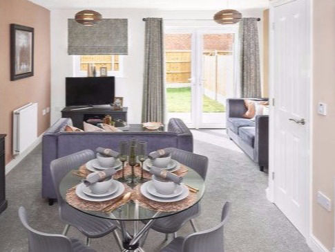 rose gold grey showhome lounge diner