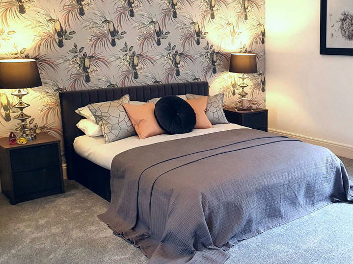 grey and blush pink bedroom