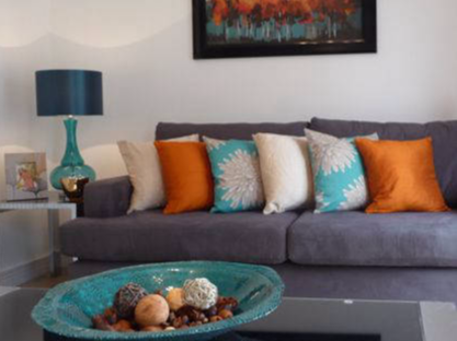 teal and orange lounge