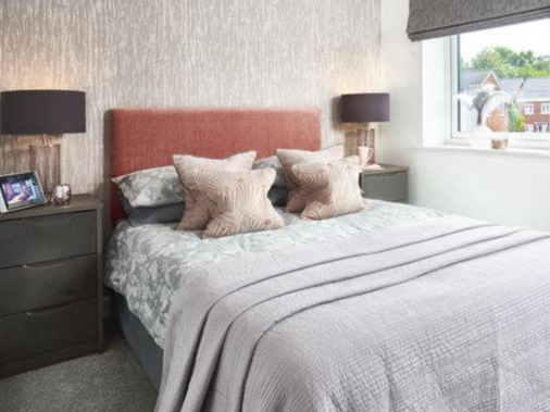 rose gold grey showhome bedroom