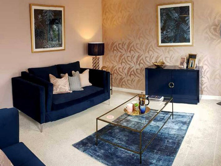 blush pink and sapphire blue showhome lounge