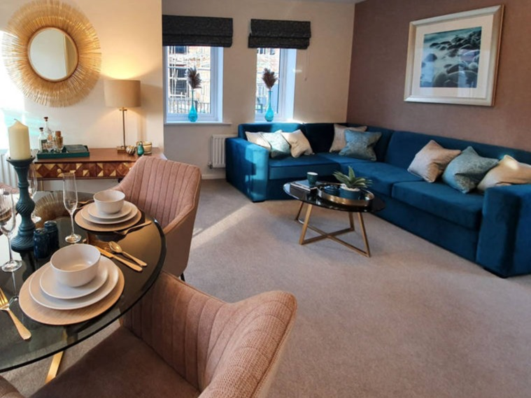 teal and soft gold showhome lounge diner